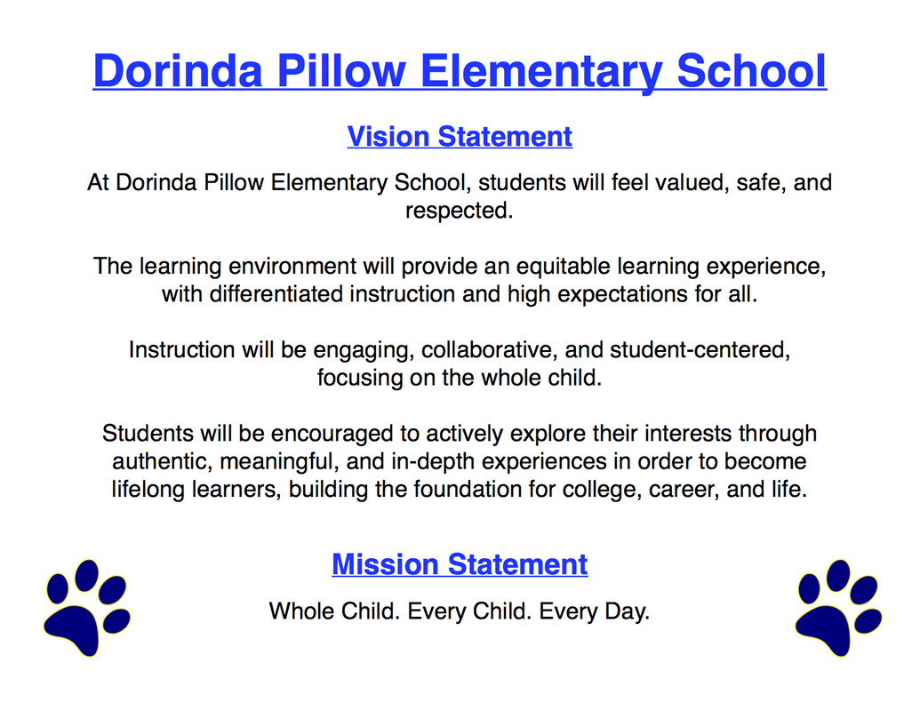 mission vision dorinda pillow elementary schoolwhole child picture